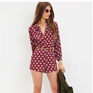 FOREVER 21~Equestrian🐎 Horse~Long Sleeve Romper~M